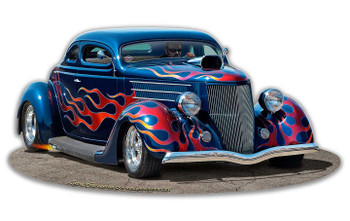 1936 Blown Coupe Blue with Flames Plasma Cut Metal Sign