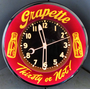 Grapette Thirst or Not !  Neon Clock