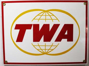 TWA Porcelain Metal Sign