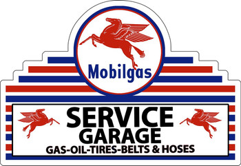 Mobil Service Garage Plasma Cut Metal Sign