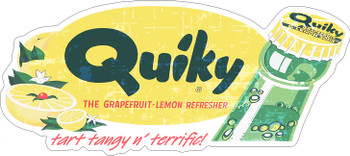 Quiky Grapefuit-Lemon Refresher Soda Plasma Cut Metal Sign