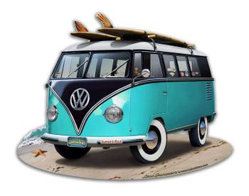 VW Bus Turquoise Plasma Cut Metal Sign