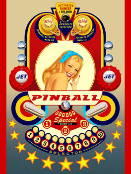 Pinball Pin Up Metal Sign