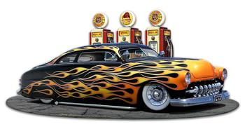 1949 Flame Mercury Kustom Fill Up Plasma Cut Metal Sign