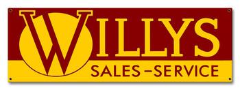 Willys Sales Service Metal Sign