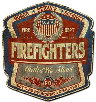 Firefighters United Plasma Cut Sign