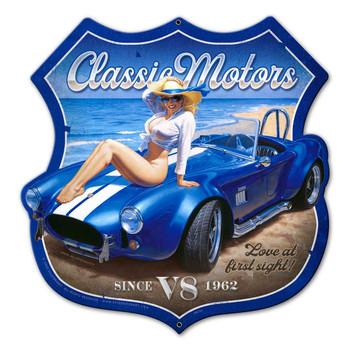 Classic Motors Shield Plasma Cut Metal Sign