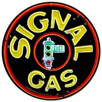 Signal Neon Style Round Metal Sign