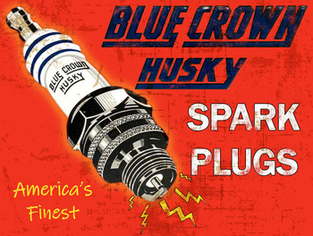 Blue Crown Husky Spark Plugs Metal Sign