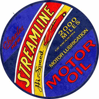 Streamline Motor Oil Round Metal Sign by Michael Fishel