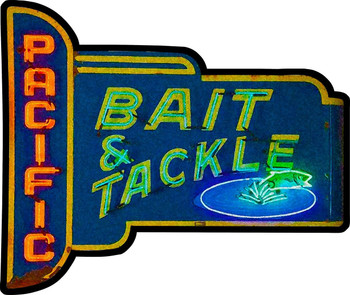 Pacific Bait and Tackle Plasma Cut Metal Sign