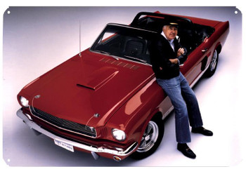 Carroll Shelby / Red Mustang Metal Sign