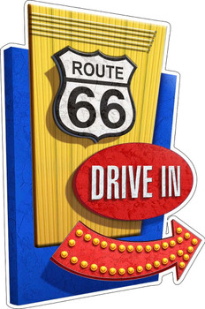 Route 66 Drive In Metal Sign by Michael Fishel