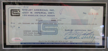 Carroll Shelby Framed Autograph Check #014906 Certified