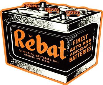 Rebat Battery Metal Sign