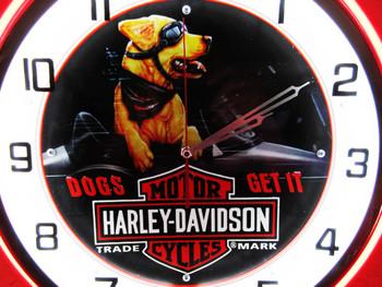 "Double Neon Harley-Davidson Chrome Clock 18.5"""