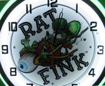 "Double Neon Rat Fink / Flying Eye Ball Chrome Clock 18.5"""