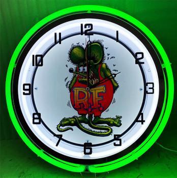 """Double Neon Rat Fink Fiqure Chrome Clock 18.5"""""""