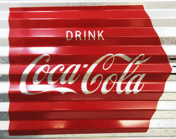 "Coca-Cola Corrugated Metal Signs 24"" by 8"""
