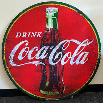 "Coca-Cola 40"" Round Metal Sign Paper Litho"
