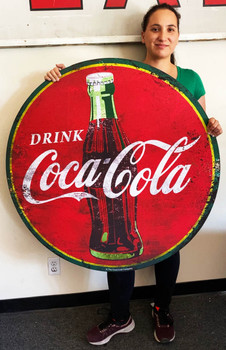 "Coca-Cola 40"" Round Metal Sign Paper Litho"