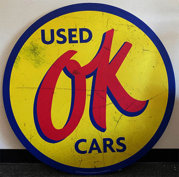 """OK Used Cars 40"""" Round Metal Sign Paper Litho"""