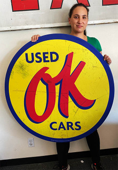 "OK Used Cars 40"" Round Metal Sign Paper Litho"