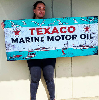 "Texaco Marine Metal Signs Paper Litho 54"" by 23"""