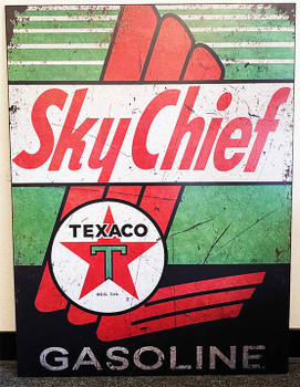 """Texaco Sky Chief Gasoline Metal Signs Paper Litho 40"""" by 30"""""""