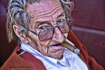 Bill Hines Portrait / Cigar Metal Sign Peter Torres