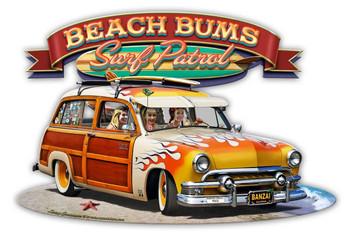 1951 Surf Woody Beach Bums Surf Patrol Plasma Cut Metal Signs
