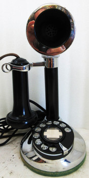 Stromberg Carlson Nickel Plated Candlestick Rotary Dial Telephone