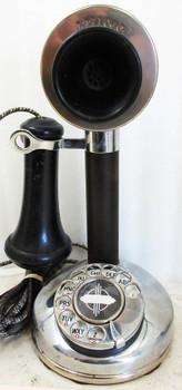 Kellogg Nickel Plated Candlestick Rotary Dial Telephone Circa 1900's