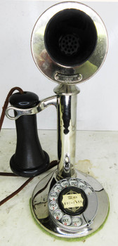 Western Electric Nickel Plated Candlestick Rotary Dial Telephone Circa 1915