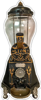 Lions Candy Gumball Machine Metal Sign