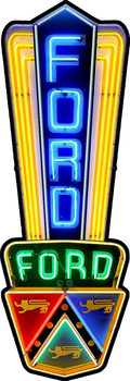 Ford Neon Style Metal Sign by Michael Fishel