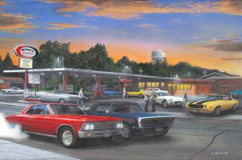 Cruise Night at Mickey's Diner by Kevin Daniel