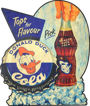 Donald Duck Cola Advertisement Metal Sign