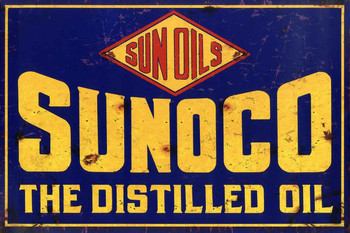 Sunoco The Distilled Oil Distressed Metal Sign