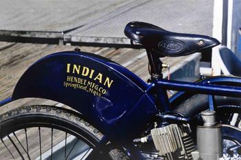 Indian Blue Motorbike Metal Sign