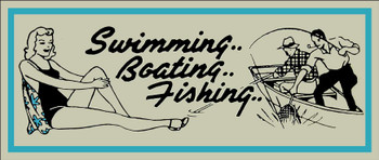 Swimming Boating Fishing Metal Sign by Marty Mummert