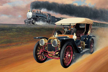1908 Oldsmobile Racing the Train by Stan Stokes