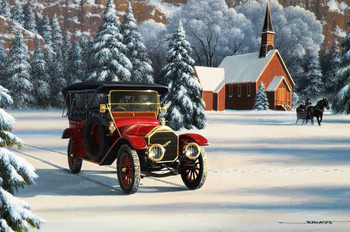 1912 Pierce Arrow Brass Era Motor Car Original Oil Painting