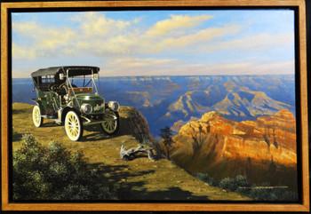 1908 Stanley Brass Era Motor Car Original Oil Painting