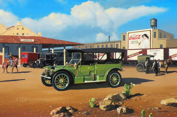 1911 Rambler Brass Era Motor Car Original Oil Painting