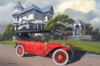 1912 Locomobile Brass Era Motor Car Original Oil Painting