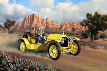 1915 Stutz Brass Era Motor Car Original Oil Painting