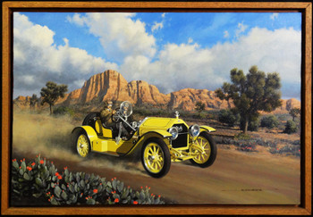 1915 Stutz Brass Era Motor Car Original Oil Painting