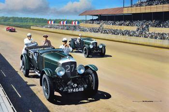 1927 Bentley Motor Car Original Oil Painting
