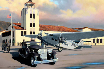 1931 Packard with Tri-Motor Motor Car Original Oil Painting